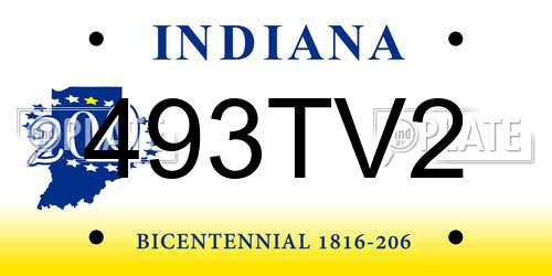 493TV2 Indiana License Plate