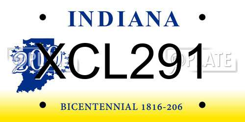 XCL291 Indiana License Plate