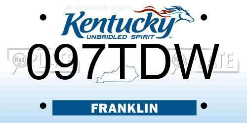097TDW Kentucky License Plate