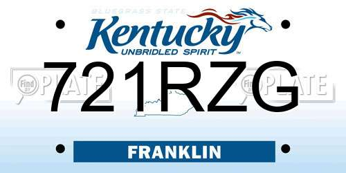 721RZG Kentucky License Plate