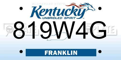 819W4G Kentucky License Plate