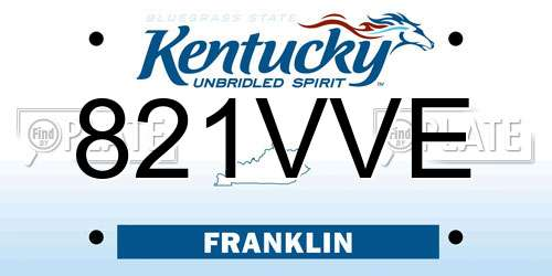 821VVE Kentucky License Plate