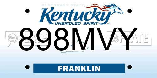 898MVY Kentucky License Plate