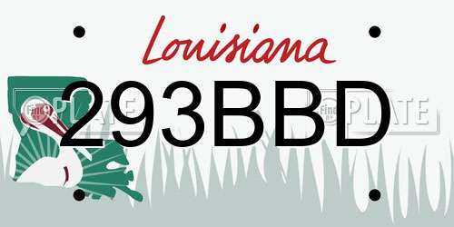 293BBD Louisiana License Plate