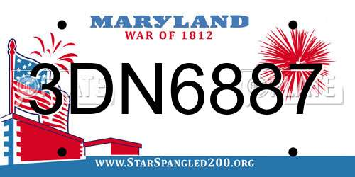 3DN6887 Maryland License Plate