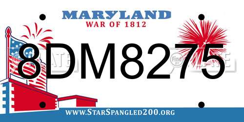 8DM8275 Maryland License Plate