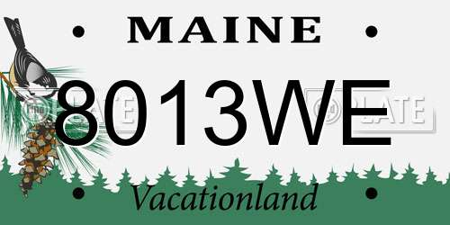 8013WE Maine License Plate