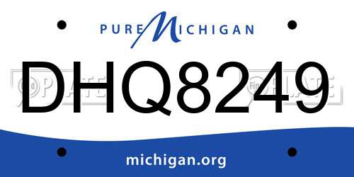 DHQ8249 Michigan License Plate