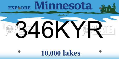 346KYR license plate in MN state