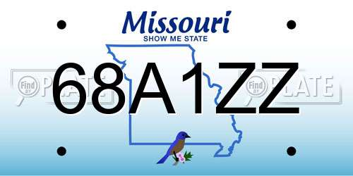 68A1ZZ license plate in MO state