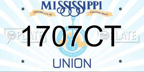 1707CT Mississippi License Plate