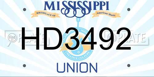 HD3492 Mississippi License Plate