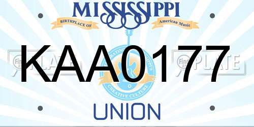 KAA0177 Mississippi License Plate