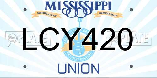 LCY420 Mississippi License Plate