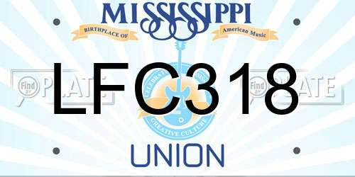 LFC318 Mississippi License Plate