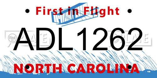 ADL1262 North Carolina License Plate