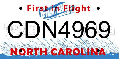 CDN4969 North Carolina License Plate