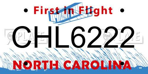 CHL6222 North Carolina License Plate
