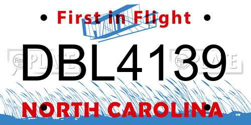 DBL4139 North Carolina License Plate