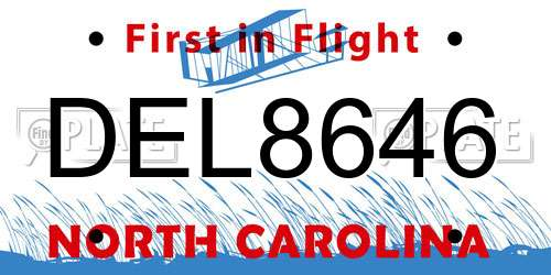 DEL8646 North Carolina License Plate