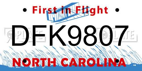 DFK9807 North Carolina License Plate