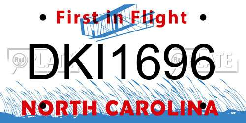 DKI1696 North Carolina License Plate