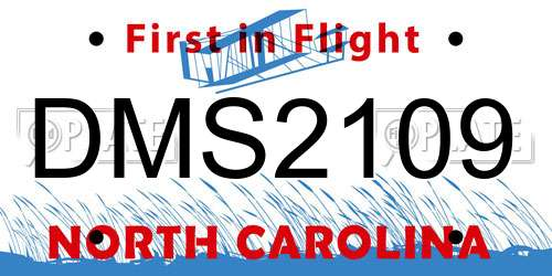 DMS2109 North Carolina License Plate