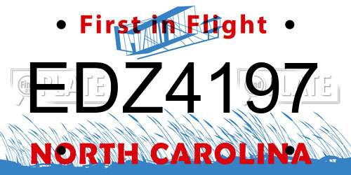 EDZ4197 North Carolina License Plate