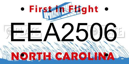EEA2506 North Carolina License Plate