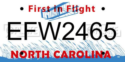 EFW2465 North Carolina License Plate