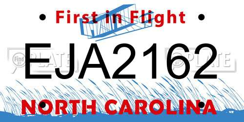 EJA2162 North Carolina License Plate