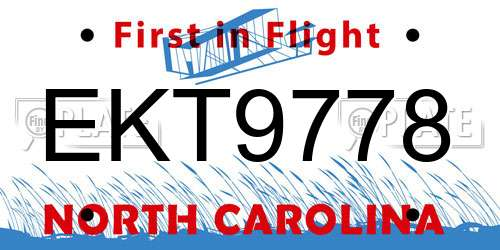 EKT9778 North Carolina License Plate