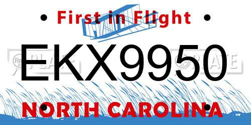 EKX9950 North Carolina License Plate