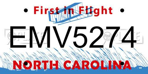 EMV5274 license plate in NC state
