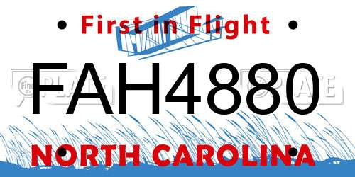 FAH4880 North Carolina License Plate