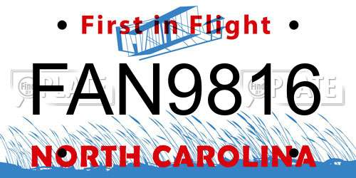 FAN9816 North Carolina License Plate