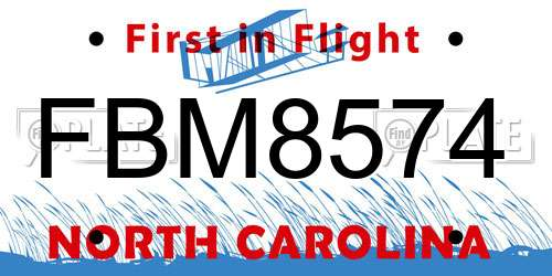 FBM8574 North Carolina License Plate