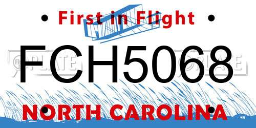 FCH5068 North Carolina License Plate