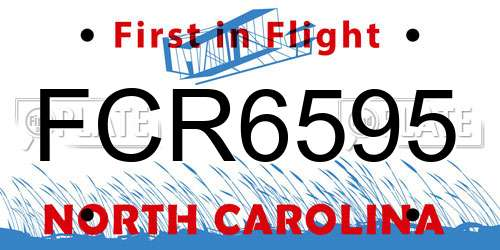 FCR6595 North Carolina License Plate