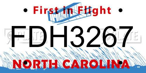 FDH3267 North Carolina License Plate