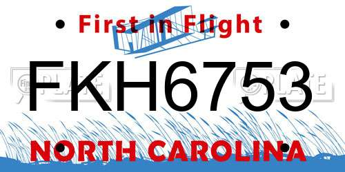 FKH6753 North Carolina License Plate