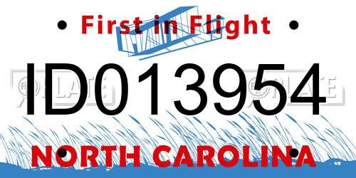 ID013954 North Carolina License Plate