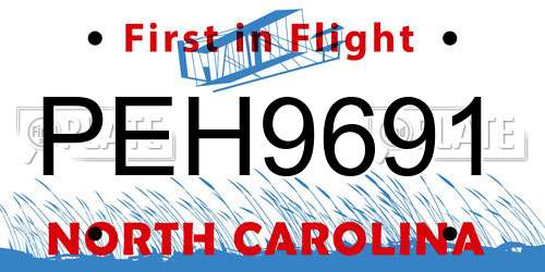 PEH9691 North Carolina License Plate