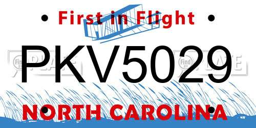 PKV5029 North Carolina License Plate