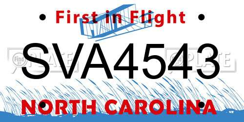 SVA4543 North Carolina License Plate