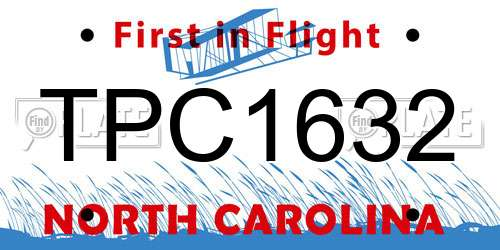 TPC1632 North Carolina License Plate