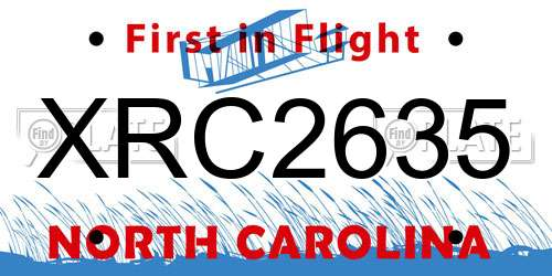 XRC2635 North Carolina License Plate