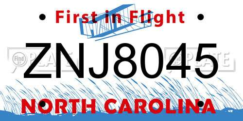 ZNJ8045 North Carolina License Plate