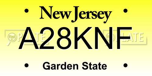A28KNF New Jersey License Plate