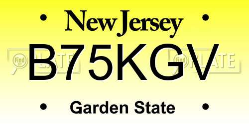 B75KGV New Jersey License Plate